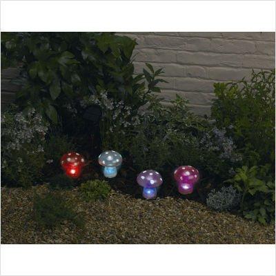 Solar Garden Light 4 Piece Set Mushrooms
