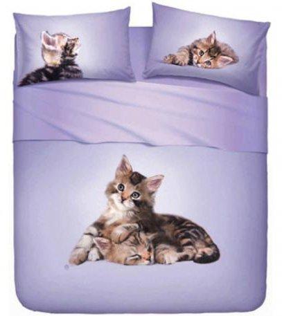 COMPLETO LETTO LENZUOLA COPRILETTO BASSETTI IMAGINE SINGOLO UNA PIAZZA STAMPA DIGITALE SOPRA + SOTTO + 1 FEDERA (LOVELY CATS (GATTINI))