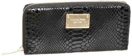 Michael Michael Kors Jet Set Python-Embossed Patent Zip-Around Continental Wallet,Black,One Size