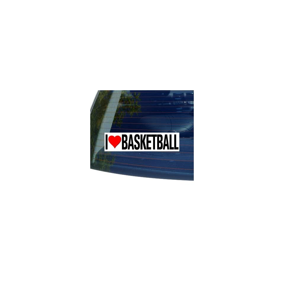 I Love Heart BASKETBALL   Window Bumper Sticker
