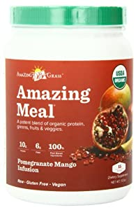 Amazing Grass Amazing Meal Powder, Organic Pomegranate Mango Infusion, Gluten Free, 16.2 Ounce Canister