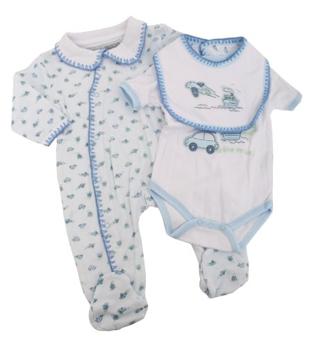 Baby Boy 3 Piece Embroidered Car Plane Design Sleepsuit, Bodysuit and Bib Gift Set (3-6 Months) (Blue)
