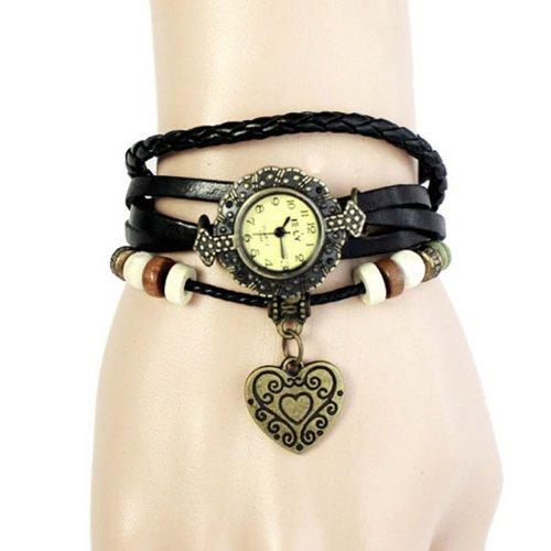 Zps 1Pc New Womens Weave Wrap Bracelet Heart Pendant Quartz Retro Party Wrist Watch Black