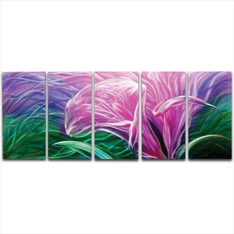Metal Artscape Ma10055 59 X 24 In. Electric Lily 5-Panel Handmade Metal Wall Art MA10055