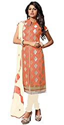 Lovely Look Latest Peach Embeoidered Dress Material