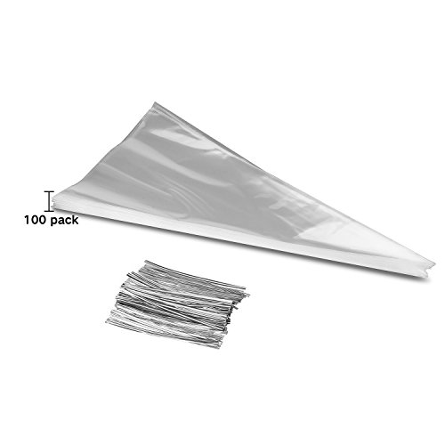 ttoyouu-100-pcs-cellophane-clear-cone-shaped-cello-treat-bags-sweet-cookie-bags-with-twist-ties-1181