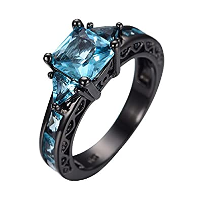 Rongxing Jewelry® Blue Aquamarine Ladies Black Gold Promise Ring Size 5-10