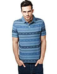 North Coast Pure Cotton Aztec Striped Polo Shirt