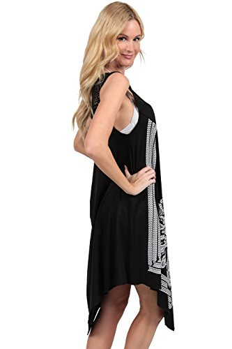 Ingear Crochet Casual Dress Embroidery Summer Beach Handkerchief Dress