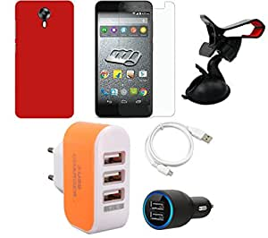 NIROSHA Tempered Glass Screen Guard Cover Case Car Charger USB Cable Mobile Holder Charger car for Micromax Canvas Express 2 - Combo