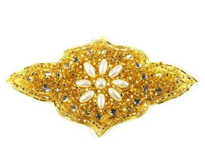 Crest Beaded Rhinestone Applique By Shine Trim - Gold