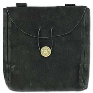 Medieval Renaissance Leather Black Suede Pouch Large