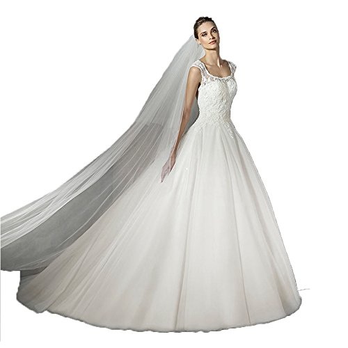 01c8cc20fd Newdeve Round Collar Lace Tulle White Wedding Gowns for Bride Long for Women  (10)