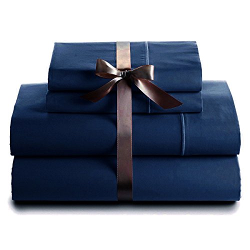 Italian 400 Thread Count Solid 4Pc Twin Xl Sheet Set (Navy Blue) By Bed&Linen front-935633