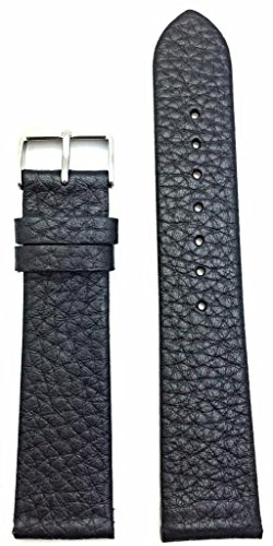 20Mm Black, Shrunken Grained Soft Leather, Flat, Watch Band