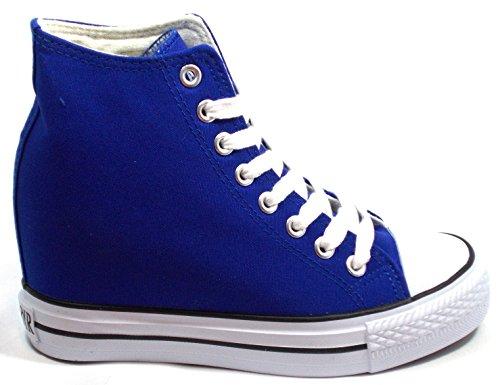 Caf-Noir-Zapatos-Sneaker-lona-Alto-Con-cua-Cm-8-Aumentar-interna