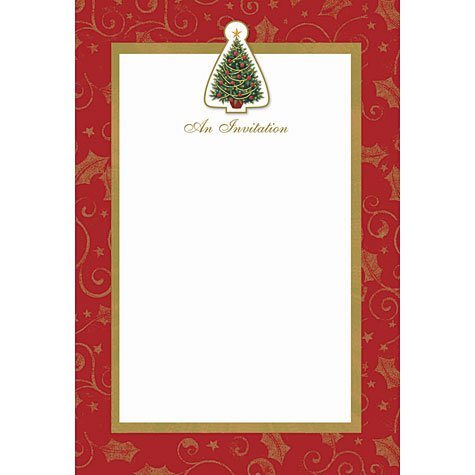 Twinkling Tree Embellished Imprintable Christmas Invitations 12ct