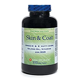 Total Pet Health Skin & Coat Tablets  -  Veterinarian-Developed Dietary Supplements that Promote Healthy Skin and Coat in Dogs and Cats, 60-Tablet Bottle