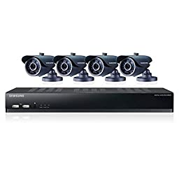 Samsung SDS-V4040N 8 Channel DVR Security System 500 GB HDD 4 Box Cameras