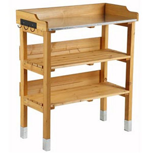 Garden potting storage shelf with hooks and made of solid pine wood