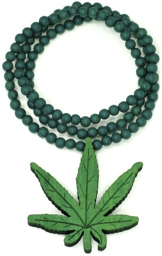Cannabis Weed Good Wood Goodwood Green Pot Leaf Replica Pendant Piece Necklace All Wood