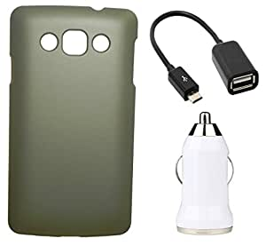 Toppings Hard Case Cover With OTG Cable & Car Charger For LG L60 - Golden