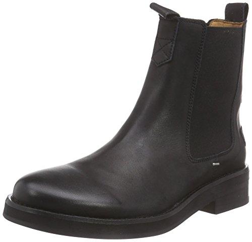 Shabbies Amsterdam Shabbies 3,5cm heel sole Black 14cm CHELSEA booty Farah, Stivaletti a gamba corta mod. Chelsea, imbottitura leggera donna, Nero (Black - Schwarz (Black 002)), 41