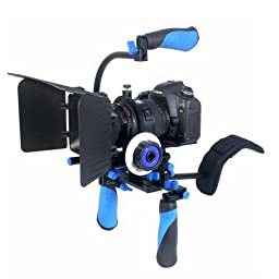 Koolertron DSLR/VCR Shoulder Mount Rig + Follow Focus + Matte Box +15mm C-Shape Support Mount Bracket + Top Handle Grip With 1/4\