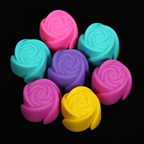 7X Silicone Rose Cup Cake Muffin Maker Baking Mould
