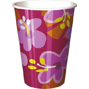 Luau Party Cups - Pink Hibiscus 16 Oz Paper Cups - 8 Count