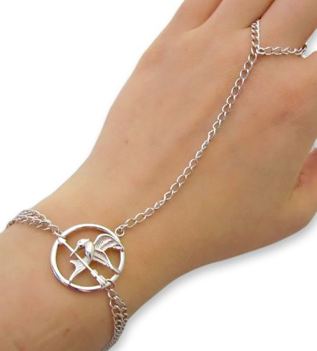 "Sterling Silver 7"" The Hunger Games-inspired Mockingjay Ring to Wrist Slave Bracelet"
