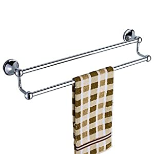 modern mirror polished stainless steel double bars towel