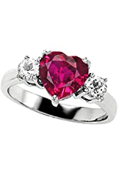 Star K 8mm Heart Shape Created Pink Sapphire Engagement Ring
