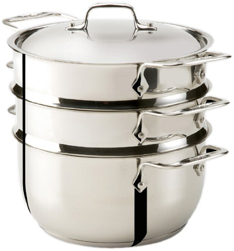 All-Clad E8979064AMZ 2-Tier Stainless Steel Steamer with Locking Tongs Set, 5.3-Quart Cookware, Silver