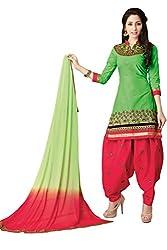 Justkartit Women's (& Girls) Green & Red Colour Unstitched Embroidery Patiyala Salwar Kameez / Daily wear patiala suits / Rich look Salwar kameez
