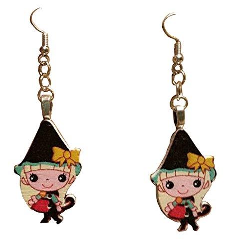 [Anime Elf Black Dangle Earrings] (Miss Elf Costumes)