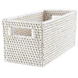 Storage Baskets: White Rattan Small Changer Basket