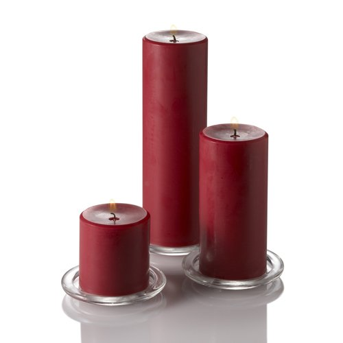 Set of 3 Hand Poured Red Unscented Richland Pillar Candles