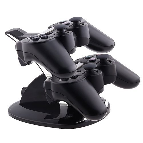 Blue Led Dual Charger Controller Stand Charging For Playstation Ps3