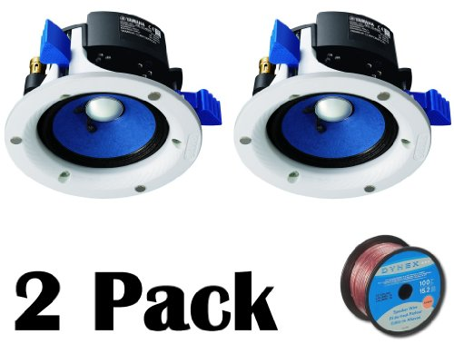 """Yamaha Custom Easy-To-Install In-Ceiling Full Range Open Back 90 Watts Mini Speaker Set (Pair Of 2) With A 4"""" Double-Layered Cone Woofer + 50 Feet Of 16 Gauge Speaker Wire"""