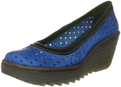 Fly London Women's Yedi Perf Leather Blue/Black/Grey Wedge Heels P500274002 4 UK