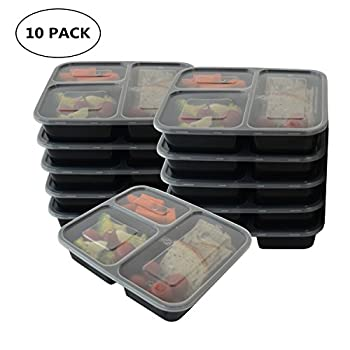 Prefer Green 3-Compartment Bento Box / Durable Plastic Lunch Boxes Sets, Meal Prep, Portion Control Containers,Food Storage [10 Pack] by Prefer Green