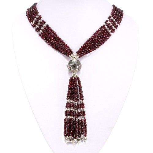 EXP Handmade Garnet & Silver Pendant Lariat Necklace