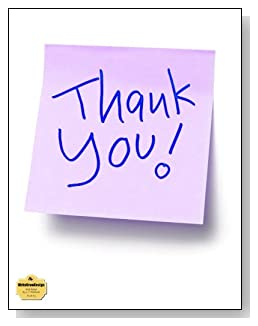 Thank You Notebook - A lavendar sticky note with the words Thank You say it all on the cover of this wide ruled notebook.