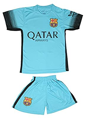 2015/2016 Barcelona Turquoise Blue Messi #10 Kids Soccer Jersey & Short