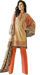 Maverick Collection Orange Camberic Lawn Cotton Straight Suit