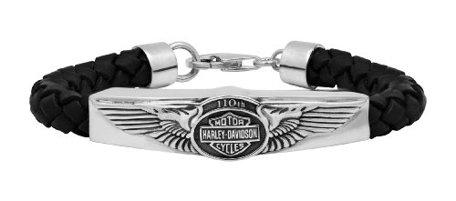 Harley-Davidson Mens .925 Silver 110th Anniversary ID Bracelet On Leather Cord Bracelet