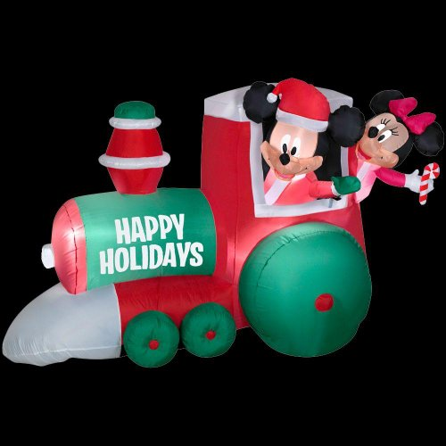 "Christmas Decoration Lawn Yard Inflatable Airblown Disney Mickey Mouse & Minnie Christmas Train 4"" front-148030"