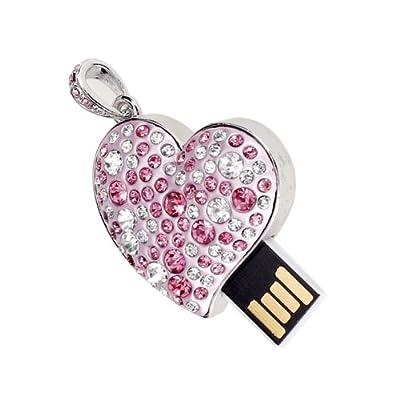 16 GB USB 2.0 Glitter Rhinestone Heart Style Flash Memory Drive Flash Disk Pen Drive - Pink by SuntekStore Online