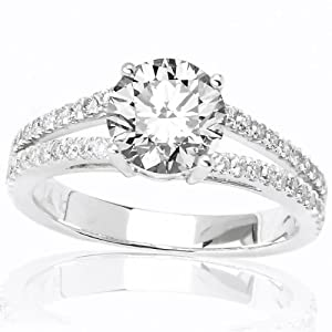 0.9 Carat Round Cut/Shape 14K White Gold Classic Double Row Pave Set Split Shank Diamond Engagement Ring ( I-J Color , I1-I2 Clarity )